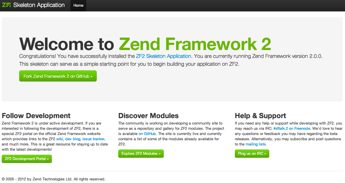 Zend Framework 2 Welcome Page